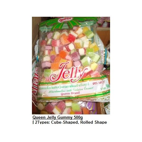 Queen Jelly Gummy [Cube-Shaped / Rolled-Shaped] 500g