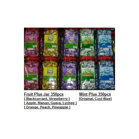 Fruit Plus & Mint Plus [Blackcurrant / Strawberry /  Apple / Mango / Guava & More] 350pcs per jar