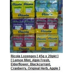 Ricola Lozenges [Lemon Mint / Alpin Fresh / Elderflower & More] 47g x 20pkts