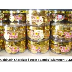 Gold Coin Chocolate 60pcs x 12boxes [Diameter Per Pc Gold Coin - 3cm] Halal