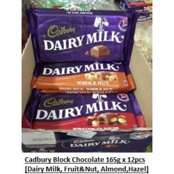 Cadbury Block Chocolate [Dairy Milk / Fruit & Nut / Almond / Hazel Nut] 165g x 12packs [can be Mixed into one box]