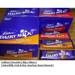 Cadbury Chocolate [Dairy Milk / Hazelnut / Fruit & Nut / Roast Almond] 40g x 24pkts [From Malaysia]