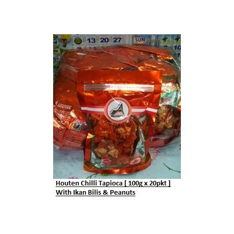 Houten Chilli Tapioca with Ikan Bilis & Nuts 100g x 20pkts