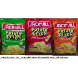 Jack & Jill Potato Chips [Spring Onion & Garlic / Salsa Chilli / BBQ Flavour] 75g x 20pkts