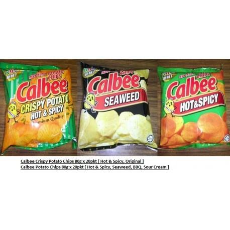 Calbee Potato Chips [Hot & Spicy / Seaweed / BBQ / Sour Cream] 75g x 20pkts