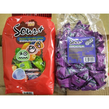 LOT100 Sour Gummy 600g [Grape / Assorted / Apple]
