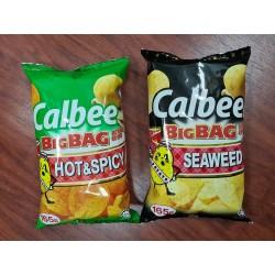 Calbee Big Bag Potato Chips [Hot & Spicy / Seaweed] 165g x 12pkts