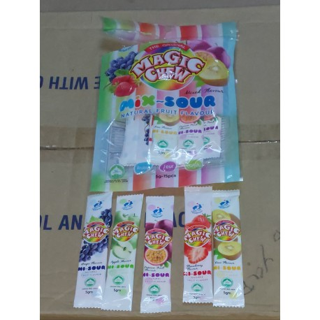 [ 75g x 6 packs ] Magic Chew Mix Fruits Sour Flavor [ 5g per strip x 15 strips per pack ]